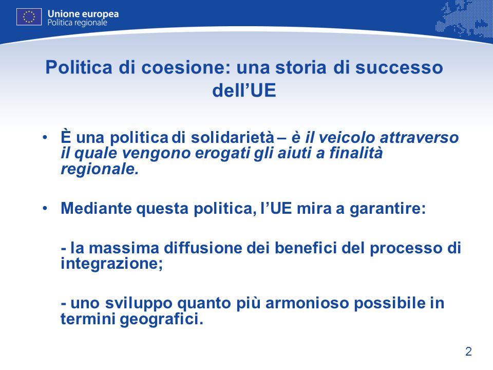 2 Politica di coesione: una storia di successo dellUE È una politica di solidarietà – è il veicolo attraverso il quale vengono erogati gli aiuti a fin