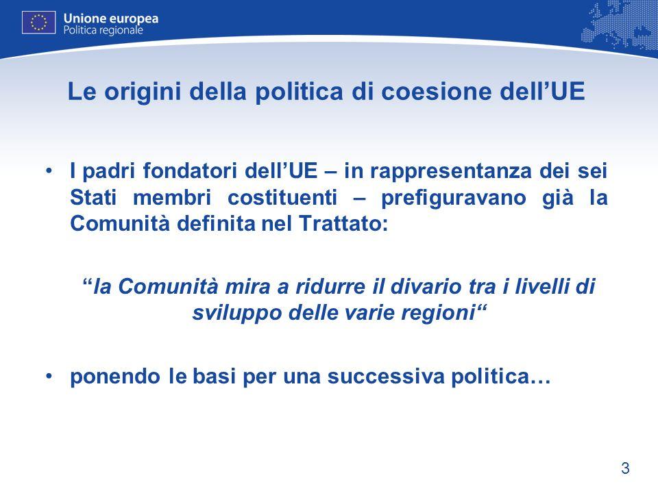 3 Le origini della politica di coesione dellUE I padri fondatori dellUE – in rappresentanza dei sei Stati membri costituenti – prefiguravano già la Co