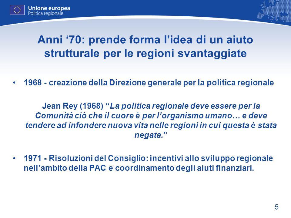 5 Anni 70: prende forma lidea di un aiuto strutturale per le regioni svantaggiate 1968 - creazione della Direzione generale per la politica regionale
