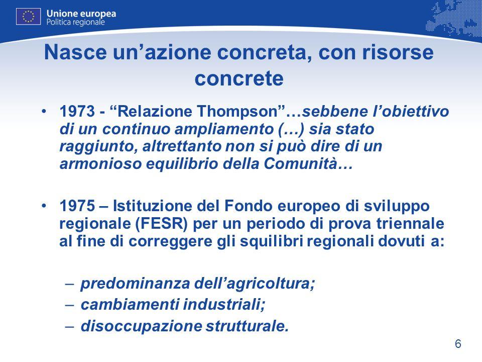6 Nasce unazione concreta, con risorse concrete 1973 - Relazione Thompson…sebbene lobiettivo di un continuo ampliamento (…) sia stato raggiunto, altre