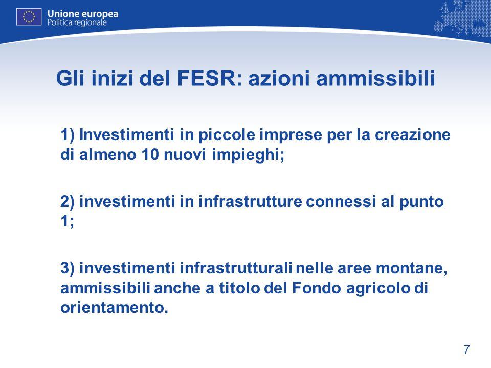 7 Gli inizi del FESR: azioni ammissibili 1) Investimenti in piccole imprese per la creazione di almeno 10 nuovi impieghi; 2) investimenti in infrastru