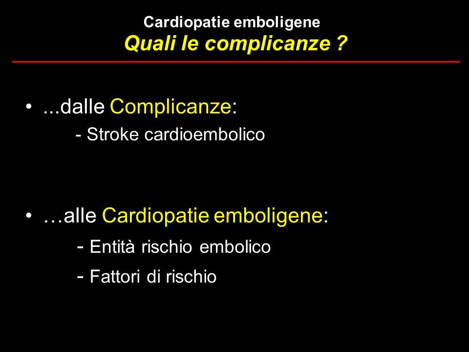 Quali le complicanze ?...dalle Complicanze: - Stroke cardioembolico …alle Cardiopatie emboligene: - Entità rischio embolico - Fattori di rischio Cardi