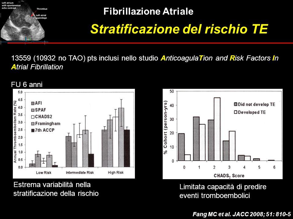 Fibrillazione Atriale Fang MC et al. JACC 2008; 51: 810-5 13559 (10932 no TAO) pts inclusi nello studio AnticoagulaTion and Risk Factors In Atrial Fib