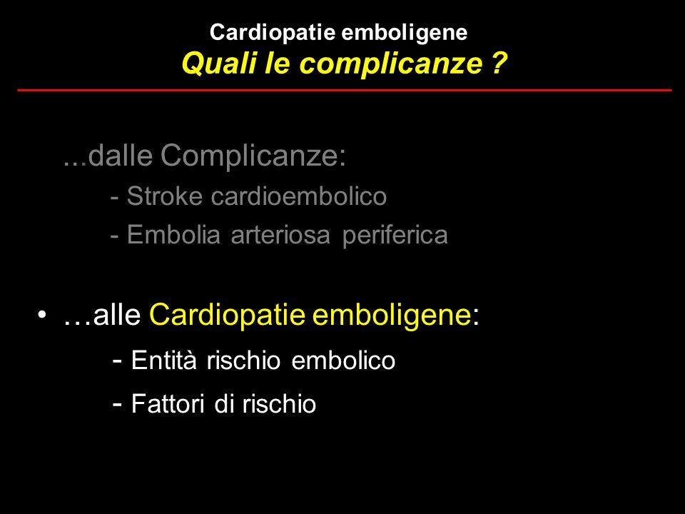 % Embolie P < 0.01 Stratton et al, Circulation 1987;75:1004 85 pts (90% CP isch.) FUP 22 mesi Scompenso cardiaco cronico Trombosi ventricolare sn
