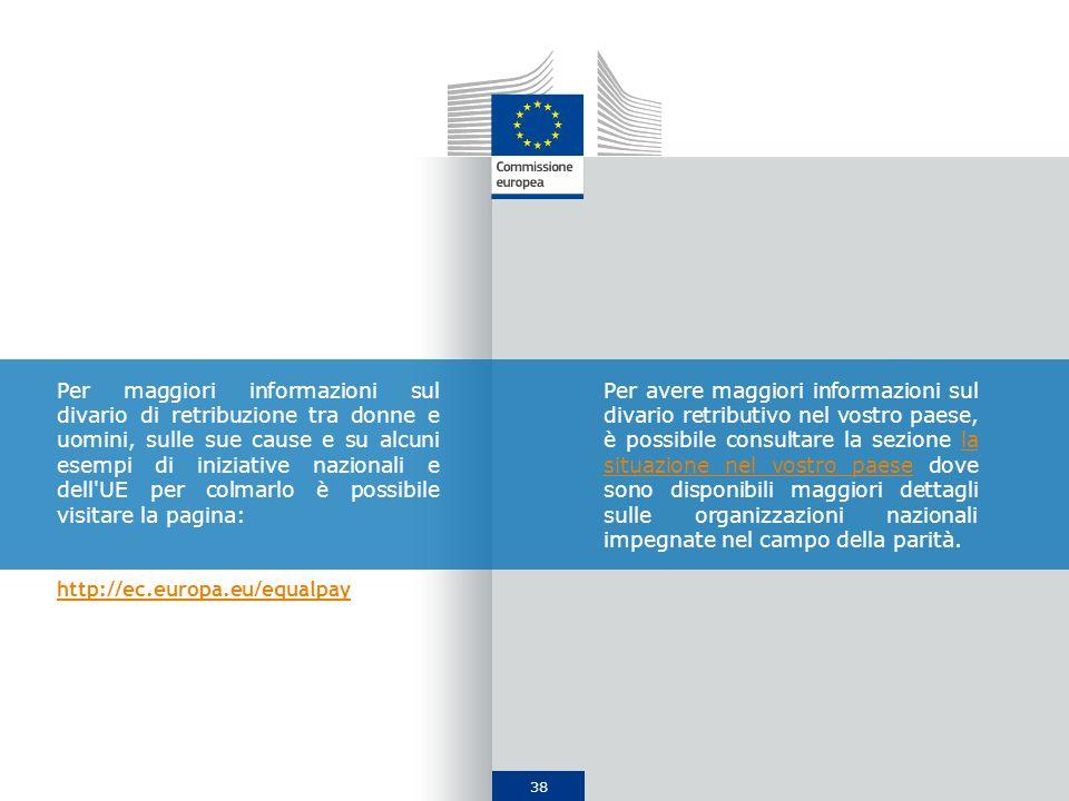 38 Per maggiori informazioni sul divario di retribuzione tra donne e uomini, sulle sue cause e su alcuni esempi di iniziative nazionali e dell'UE per