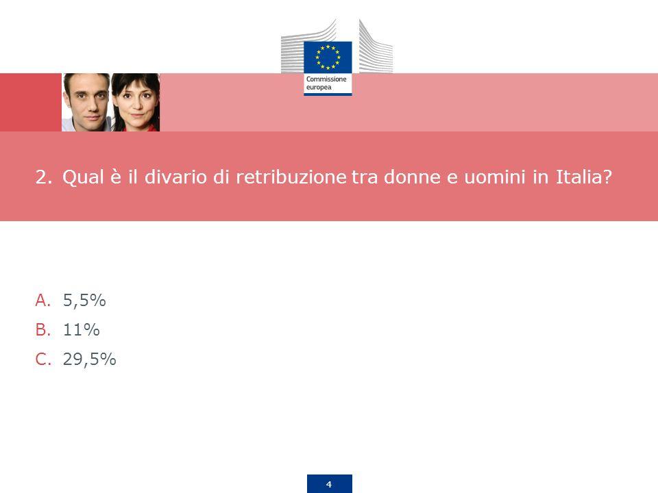 4 2.Qual è il divario di retribuzione tra donne e uomini in Italia? A.5,5% B.11% C.29,5%