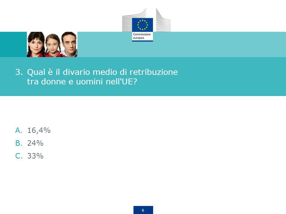 6 3.Qual è il divario medio di retribuzione tra donne e uomini nell'UE? A.16,4% B.24% C.33%