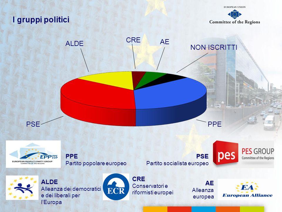 I gruppi politici PSE Partito socialista europeo AE Alleanza europea PPE Partito popolare europeo ALDE Alleanza dei democratici e dei liberali per lEu