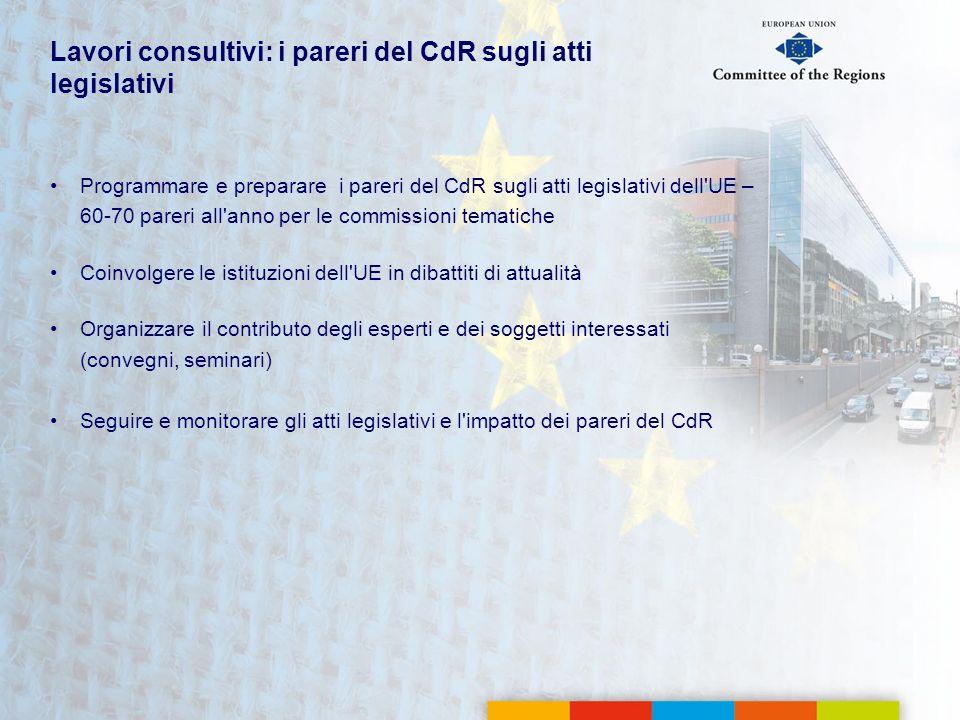 Lavori consultivi: i pareri del CdR sugli atti legislativi Programmare e preparare i pareri del CdR sugli atti legislativi dell'UE – 60-70 pareri all'