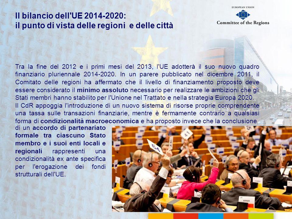 Tra la fine del 2012 e i primi mesi del 2013, l'UE adotterà il suo nuovo quadro finanziario pluriennale 2014-2020. In un parere pubblicato nel dicembr