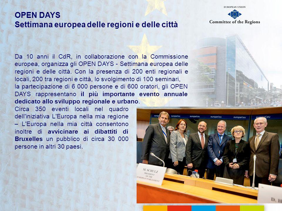 Da 10 anni il CdR, in collaborazione con la Commissione europea, organizza gli OPEN DAYS - Settimana europea delle regioni e delle città. Con la prese