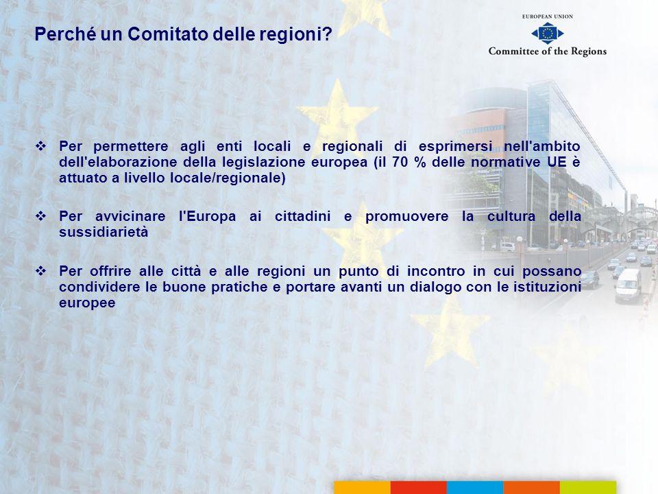 Perché un Comitato delle regioni? Per permettere agli enti locali e regionali di esprimersi nell'ambito dell'elaborazione della legislazione europea (