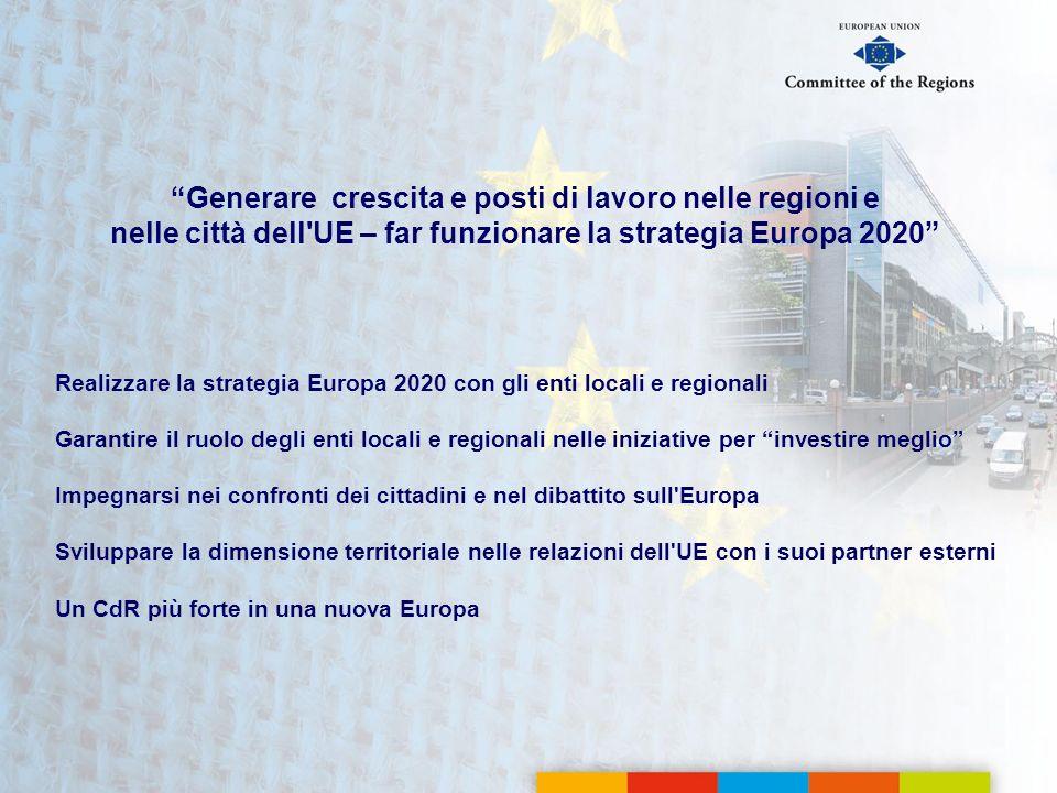 Realizzare la strategia Europa 2020 con gli enti locali e regionali Garantire il ruolo degli enti locali e regionali nelle iniziative per investire me
