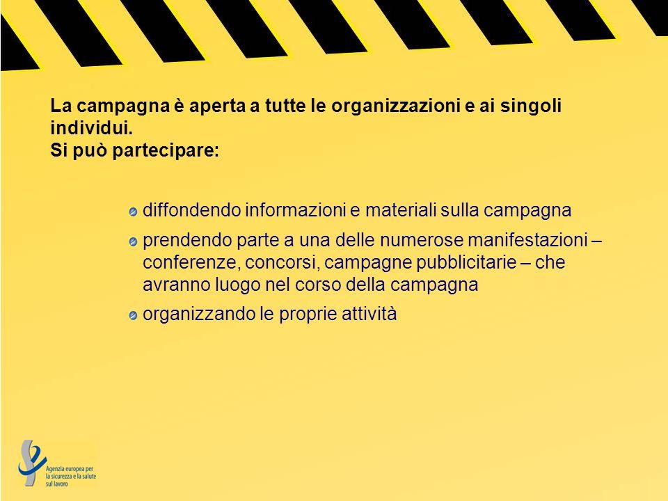 La campagna è aperta a tutte le organizzazioni e ai singoli individui.