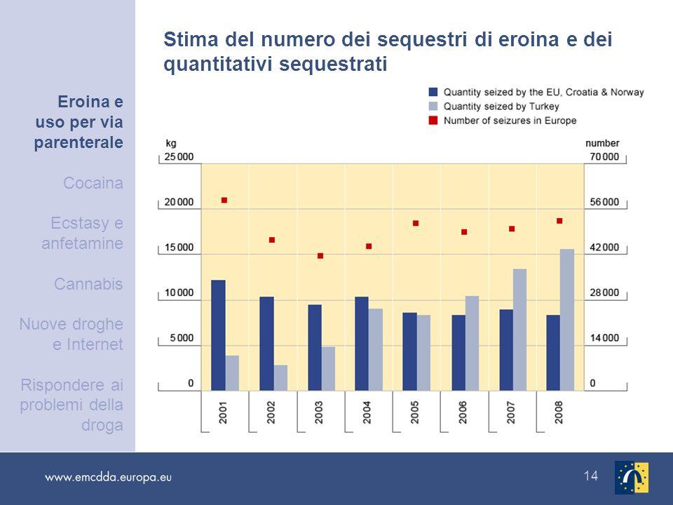 14 Stima del numero dei sequestri di eroina e dei quantitativi sequestrati Eroina e uso per via parenterale Cocaina Ecstasy e anfetamine Cannabis Nuov