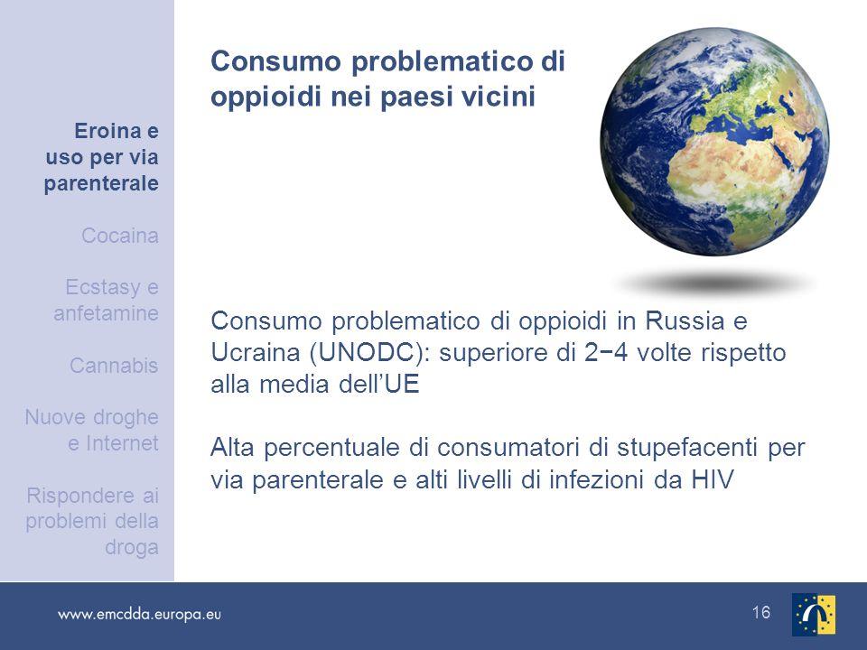 16 Consumo problematico di oppioidi in Russia e Ucraina (UNODC): superiore di 24 volte rispetto alla media dellUE Alta percentuale di consumatori di s
