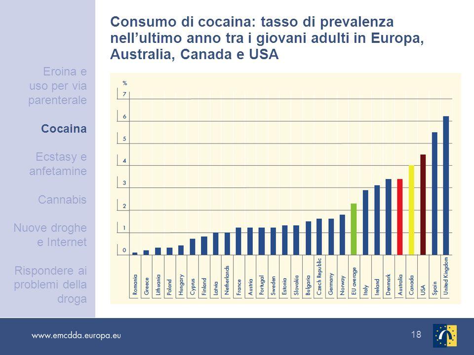 18 Consumo di cocaina: tasso di prevalenza nellultimo anno tra i giovani adulti in Europa, Australia, Canada e USA Eroina e uso per via parenterale Co