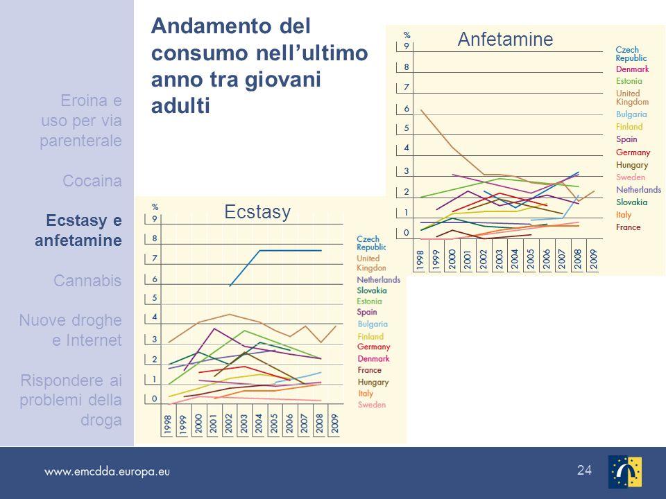 24 Andamento del consumo nellultimo anno tra giovani adulti Ecstasy Anfetamine Eroina e uso per via parenterale Cocaina Ecstasy e anfetamine Cannabis
