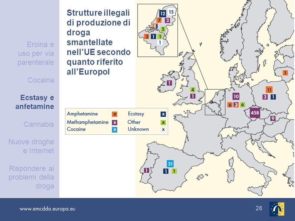 26 Strutture illegali di produzione di droga smantellate nellUE secondo quanto riferito allEuropol Eroina e uso per via parenterale Cocaina Ecstasy e