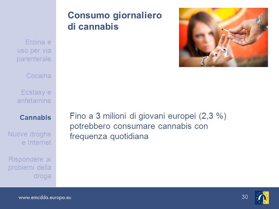 30 Consumo giornaliero di cannabis Fino a 3 milioni di giovani europei (2,3 %) potrebbero consumare cannabis con frequenza quotidiana Eroina e uso per
