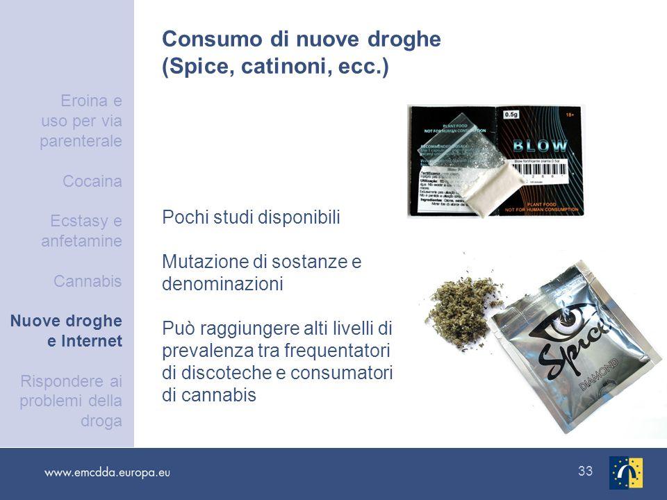 33 Consumo di nuove droghe (Spice, catinoni, ecc.) Pochi studi disponibili Mutazione di sostanze e denominazioni Può raggiungere alti livelli di preva