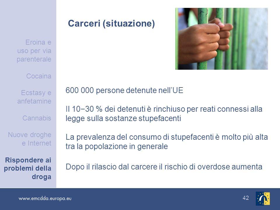 42 Carceri (situazione) 600 000 persone detenute nellUE Il 1030 % dei detenuti è rinchiuso per reati connessi alla legge sulla sostanze stupefacenti L