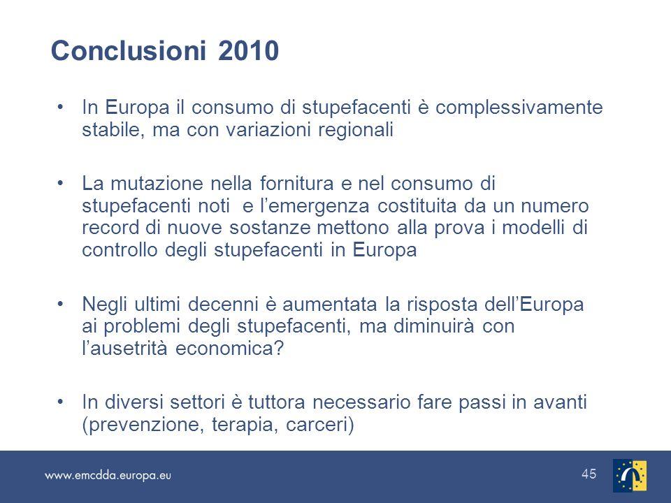 45 Conclusioni 2010 In Europa il consumo di stupefacenti è complessivamente stabile, ma con variazioni regionali La mutazione nella fornitura e nel co