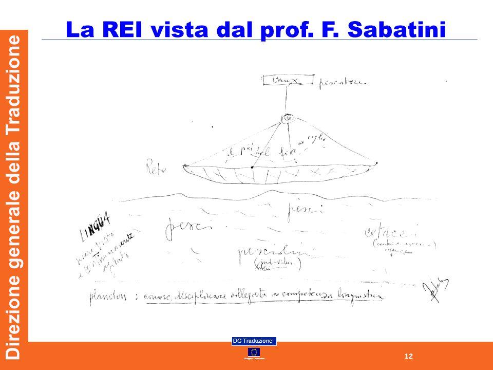 12 European Commission DG Traduzione Direzione generale della Traduzione La REI vista dal prof. F. Sabatini