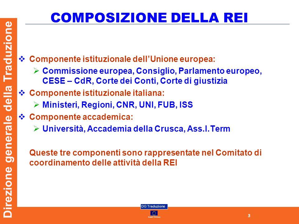 3 European Commission DG Traduzione Direzione generale della Traduzione COMPOSIZIONE DELLA REI Componente istituzionale dellUnione europea: Commission