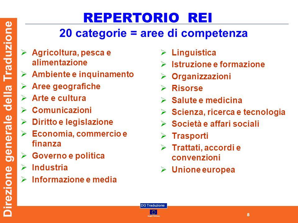 8 European Commission DG Traduzione Direzione generale della Traduzione 20 categorie = aree di competenza Linguistica Istruzione e formazione Organizz