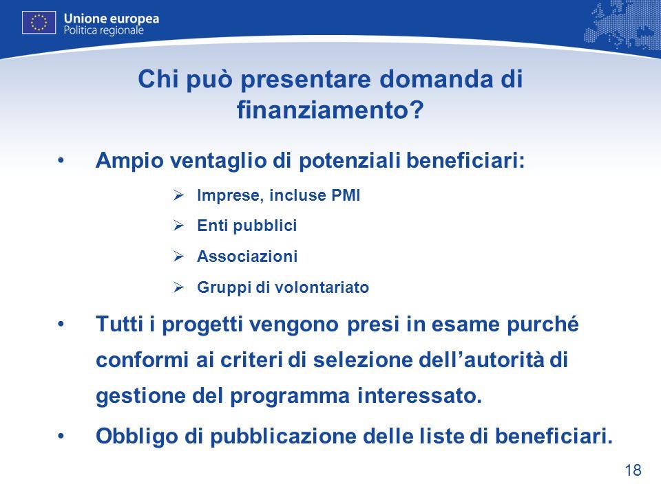 18 Chi può presentare domanda di finanziamento? Ampio ventaglio di potenziali beneficiari: Imprese, incluse PMI Enti pubblici Associazioni Gruppi di v