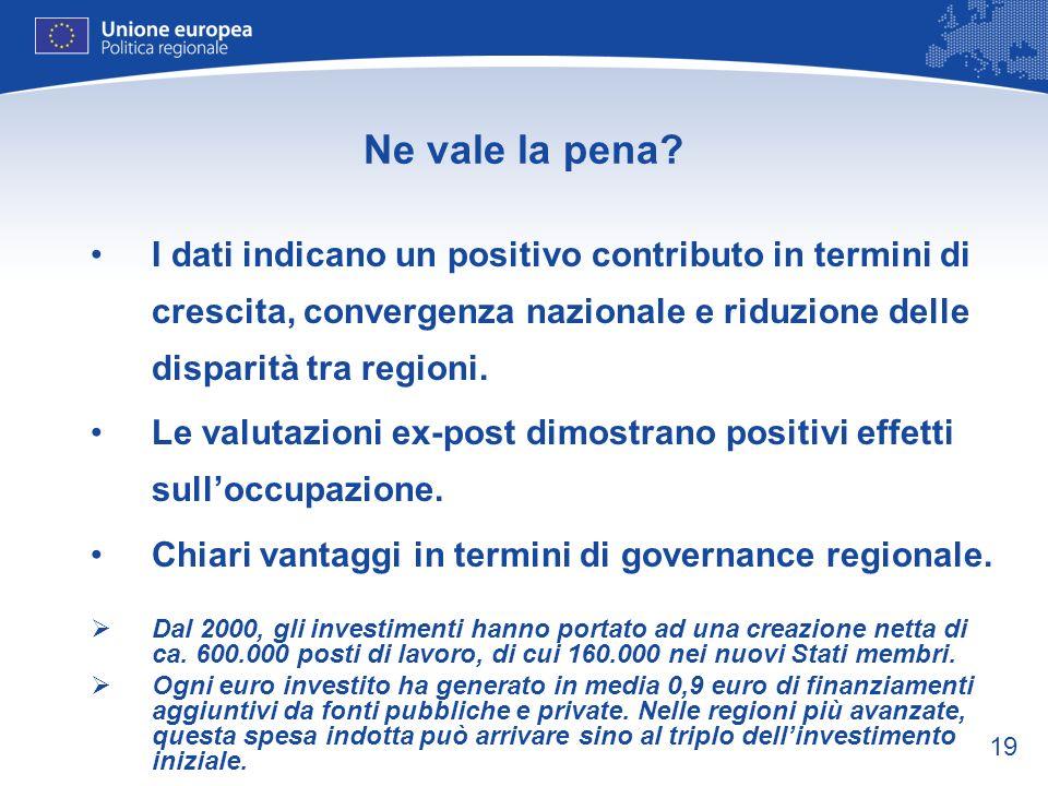 19 Ne vale la pena? I dati indicano un positivo contributo in termini di crescita, convergenza nazionale e riduzione delle disparità tra regioni. Le v