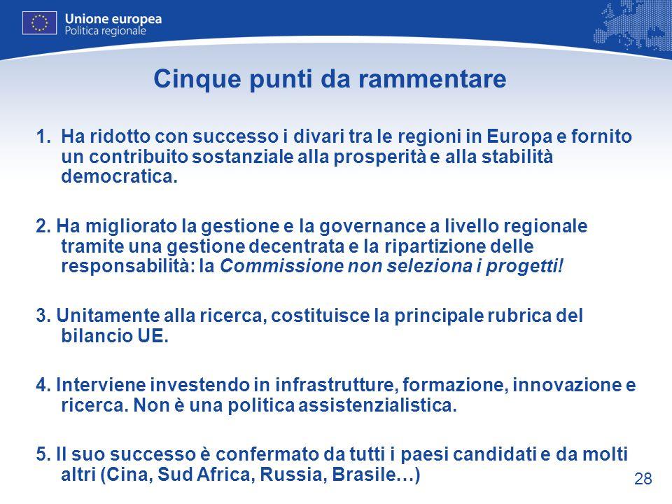 28 Cinque punti da rammentare 1.Ha ridotto con successo i divari tra le regioni in Europa e fornito un contribuito sostanziale alla prosperità e alla