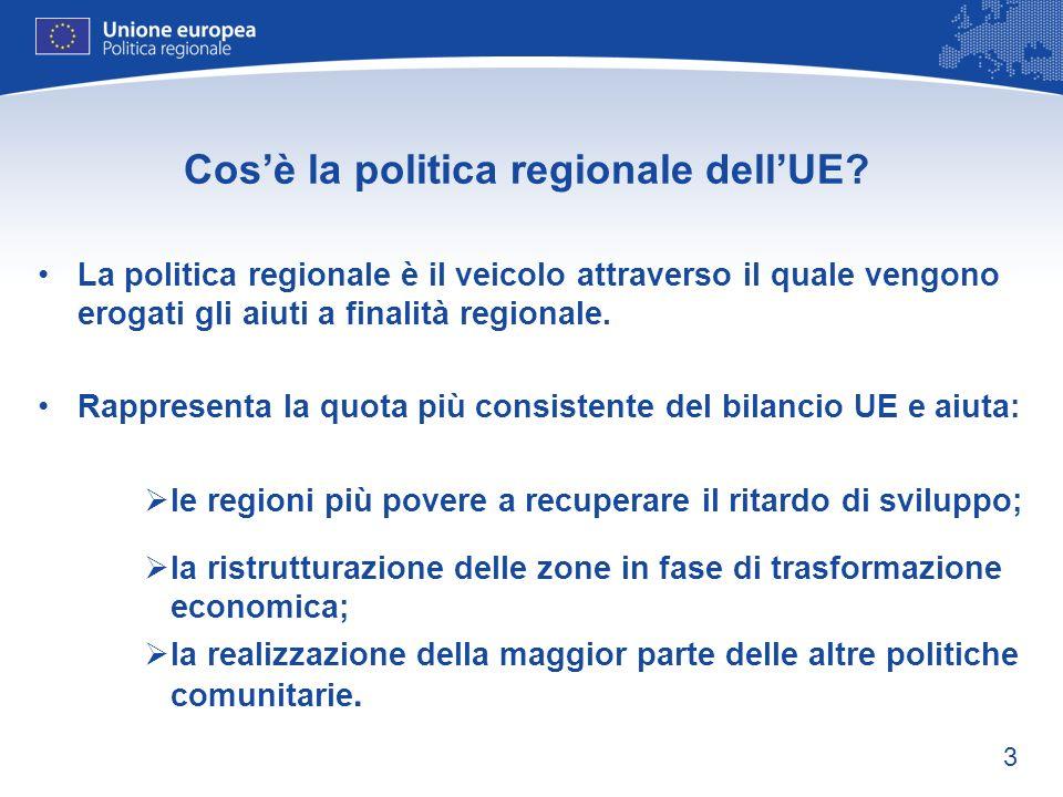 3 Cosè la politica regionale dellUE? La politica regionale è il veicolo attraverso il quale vengono erogati gli aiuti a finalità regionale. Rappresent