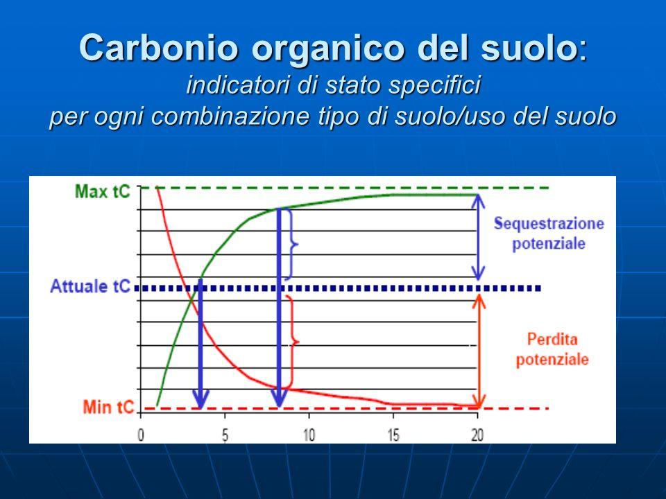 Carbonio organico del suolo: indicatori di stato specifici per ogni combinazione tipo di suolo/uso del suolo