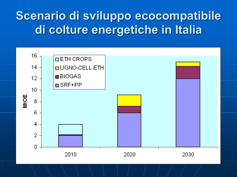 Scenario di sviluppo ecocompatibile di colture energetiche in Italia