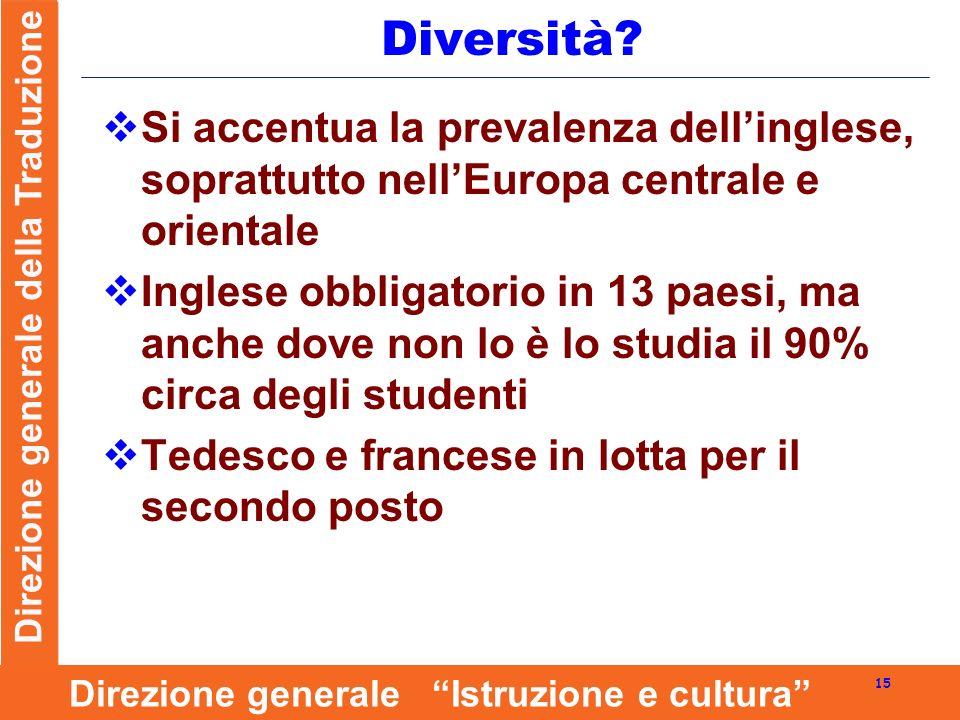 Direzione generale della Traduzione 15 Direzione generale Istruzione e cultura Diversità.