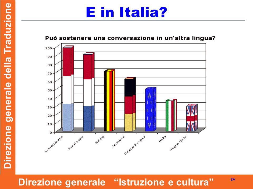 Direzione generale della Traduzione 24 Direzione generale Istruzione e cultura E in Italia