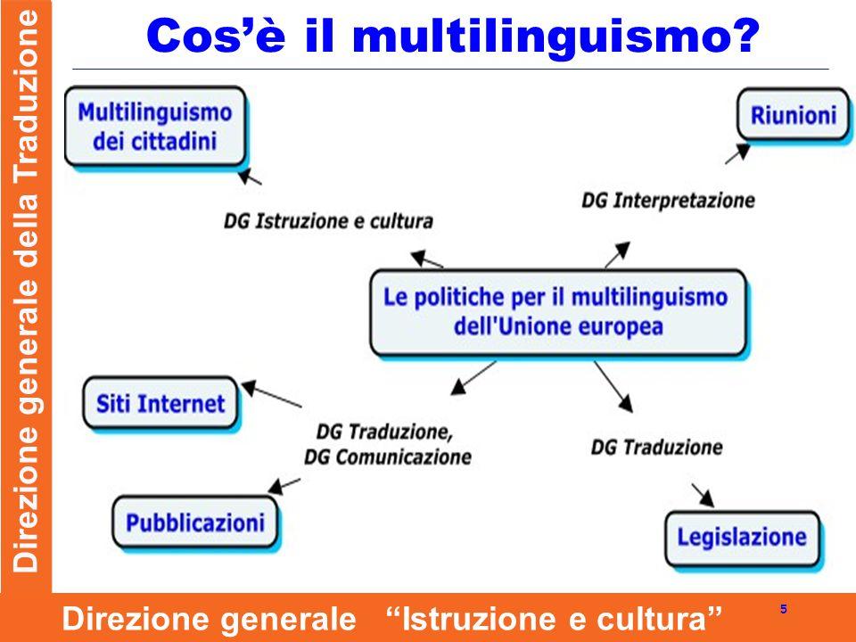 Direzione generale della Traduzione 5 Direzione generale Istruzione e cultura Cosè il multilinguismo