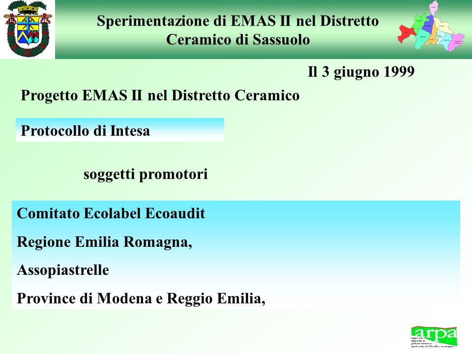 Sperimentazione di EMAS II nel Distretto Ceramico di Sassuolo Progetto EMAS II nel Distretto Ceramico Comitato Ecolabel Ecoaudit Regione Emilia Romagn