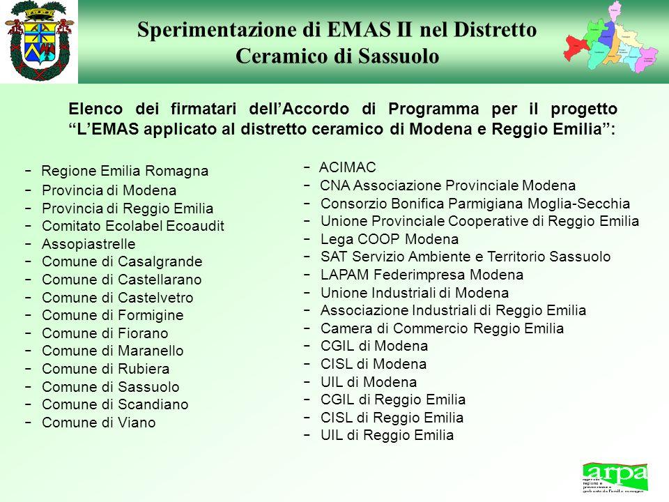 Sperimentazione di EMAS II nel Distretto Ceramico di Sassuolo - Regione Emilia Romagna - Provincia di Modena - Provincia di Reggio Emilia - Comitato E