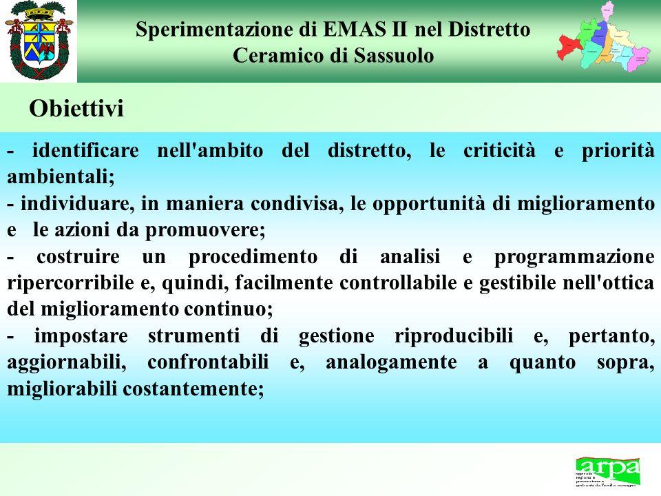 Sperimentazione di EMAS II nel Distretto Ceramico di Sassuolo - identificare nell'ambito del distretto, le criticità e priorità ambientali; - individu