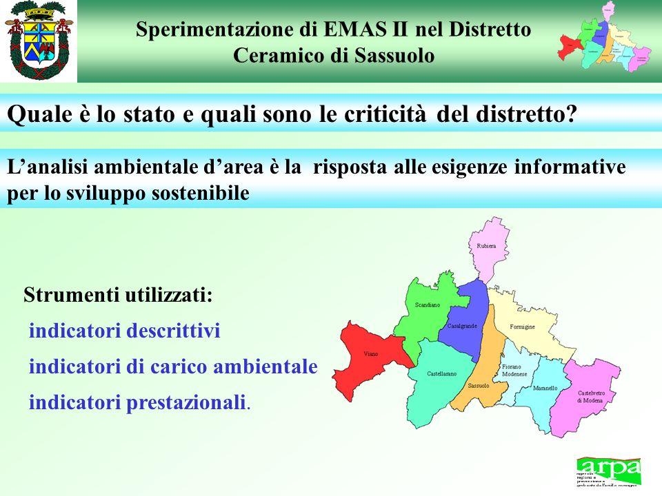 Sperimentazione di EMAS II nel Distretto Ceramico di Sassuolo Lanalisi ambientale darea è la risposta alle esigenze informative per lo sviluppo sosten