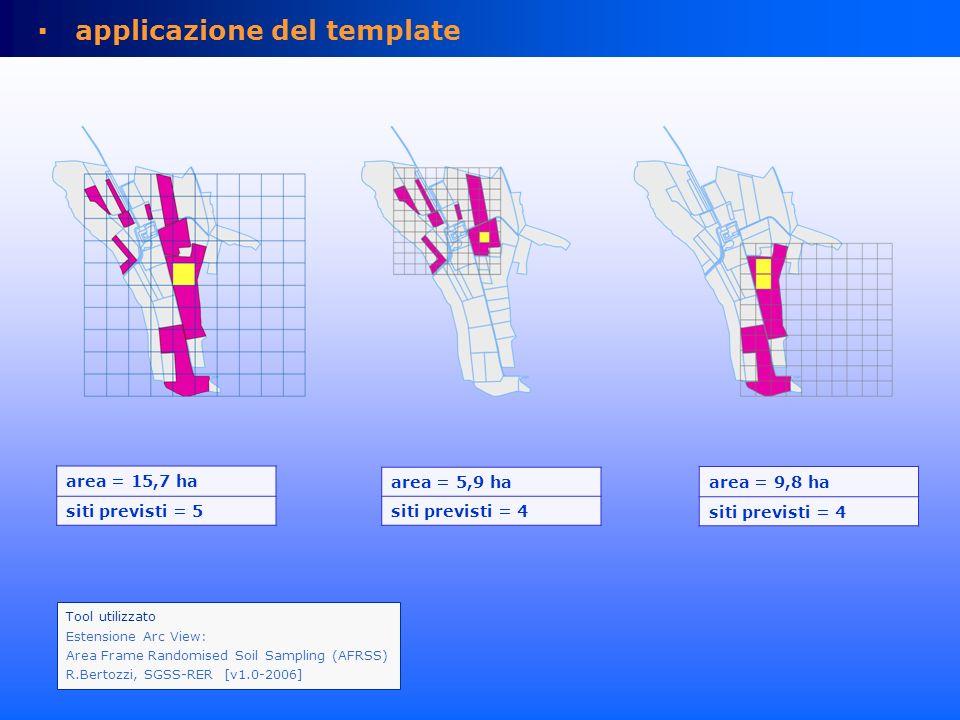 applicazione del template Tool utilizzato Estensione Arc View: Area Frame Randomised Soil Sampling (AFRSS) R.Bertozzi, SGSS-RER [v1.0-2006] area = 15,