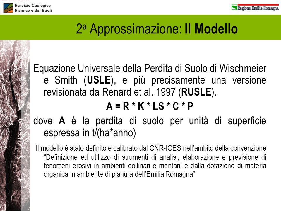 Servizio Geologico Sismico e dei Suoli Equazione Universale della Perdita di Suolo di Wischmeier e Smith ( USLE ), e più precisamente una versione rev
