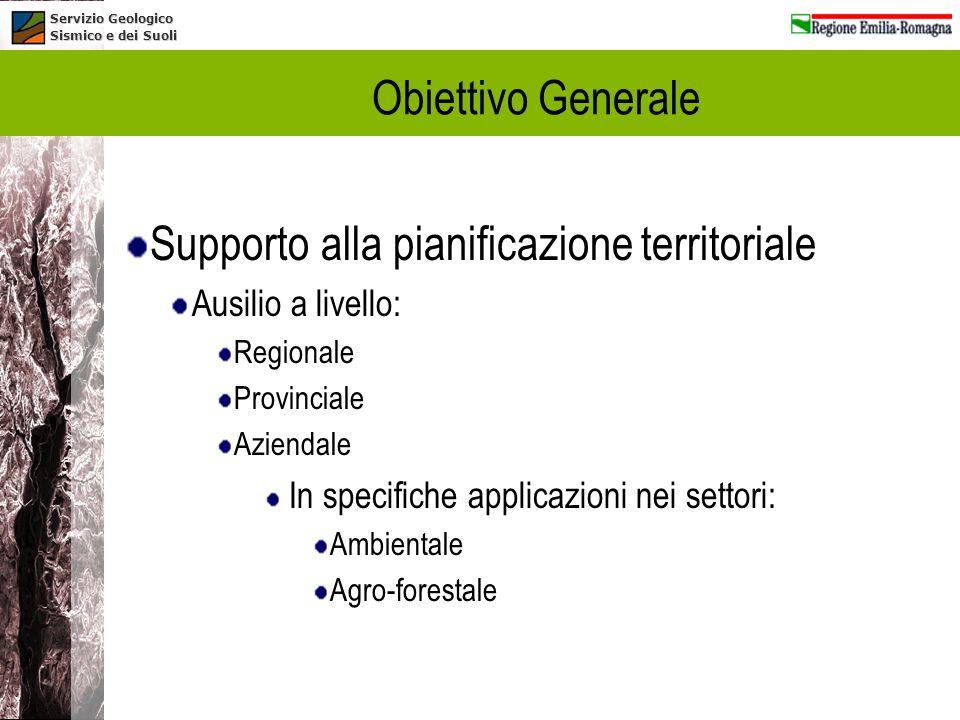Servizio Geologico Sismico e dei Suoli Obiettivo Generale Supporto alla pianificazione territoriale Ausilio a livello: Regionale Provinciale Aziendale