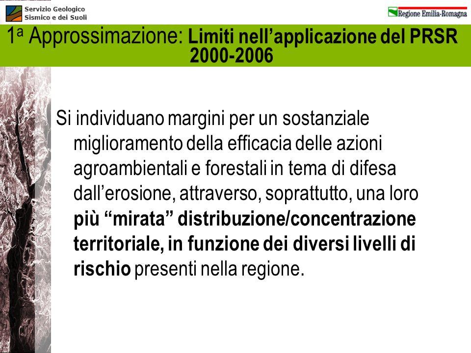 Servizio Geologico Sismico e dei Suoli 1 a Approssimazione: Limiti nellapplicazione del PRSR 2000-2006 Si individuano margini per un sostanziale migli