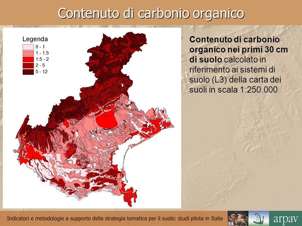 Contenuto di carbonio organico Contenuto di carbonio organico nei primi 30 cm di suolo calcolato in riferimento ai sistemi di suolo (L3) della carta dei suoli in scala 1:250.000