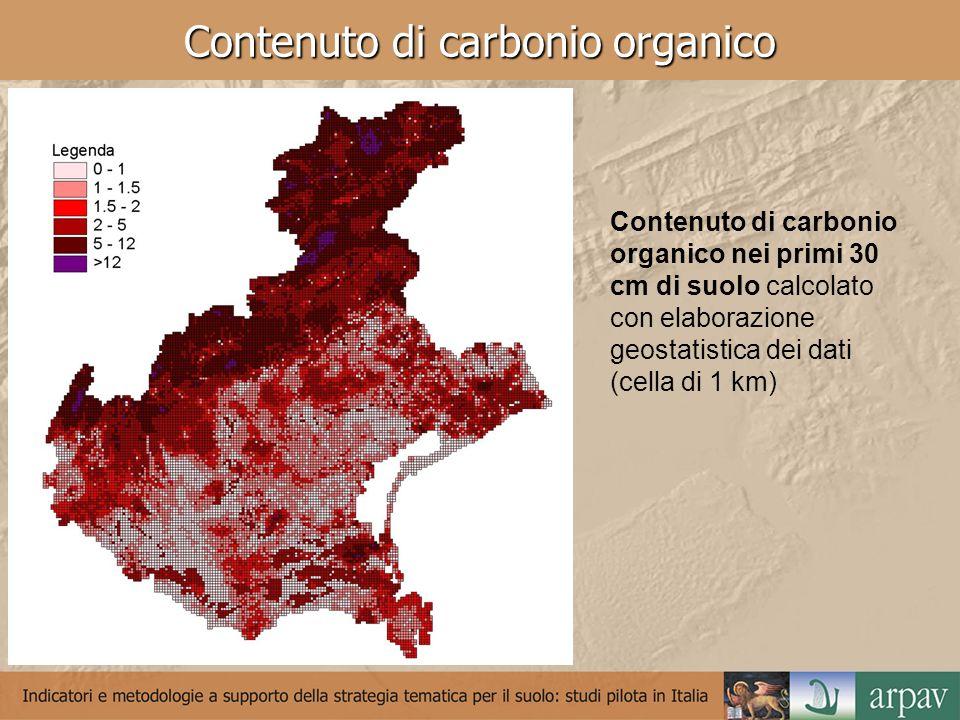 Contenuto di carbonio organico Contenuto di carbonio organico nei primi 30 cm di suolo calcolato con elaborazione geostatistica dei dati (cella di 1 km)