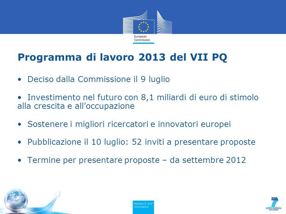 Programma di lavoro 2013 del VII PQ Deciso dalla Commissione il 9 luglio Investimento nel futuro con 8,1 miliardi di euro di stimolo alla crescita e alloccupazione Sostenere i migliori ricercatori e innovatori europei Pubblicazione il 10 luglio: 52 inviti a presentare proposte Termine per presentare proposte – da settembre 2012